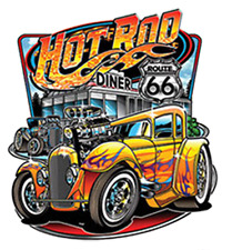 Hot Rod Diner Route 66 Classic Car Racing Auto T-Shirt Tee