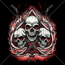 Skulls Chains Spade Flames Biker Motorcycle T-Shirt Tee