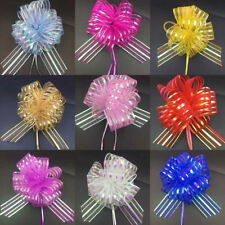 50MM Large Pom Pom Bow Organza Ribbon Pull Bows Wedding Party Gift Wrap New DIY