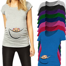 Funny maternity top baby peeking out pregnancy t shirt pregnant tee short sleeve