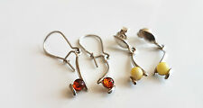 GENUINE BALTIC AMBER EARRINGS WITH STERLING SILVER 925 SALE