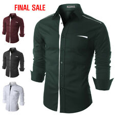 [FINAL SALE]Doublju Mens Casual Shirt with Contrast Neck Band