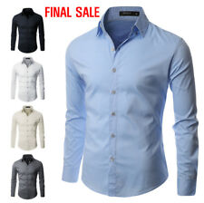 [FINAL SALE]Doublju Mens Casual Long Sleeve Gold Button Shirts