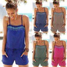 Casual Sleeveless Rompers Womens Jumpsuit Printed Spaghetti  Summer