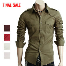 [FINAL SALE]Doublju Mens Casual Slim Fit Two Pocket Detailed Shirts