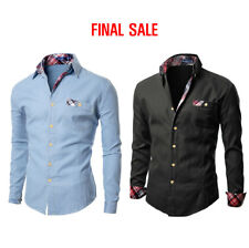 [FINAL SALE] Doublju Mens Casual Shirts with Patched Pocket