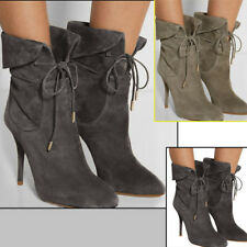 Womens High Heels Lace Up Stiletto Ankle Boots Ladies Suede Short UK Shoes Size