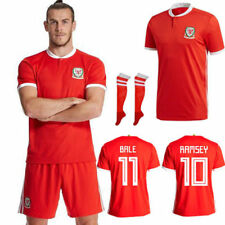 17/18 Football Soccer Jersey Red Kit Kids Shirt Shorts With Socks For 2-13yr