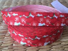 "1, 3 or 5 yards 7/8"" TOMATO LOVERS grosgrain ribbon- FLAT RATE SHIPPING"
