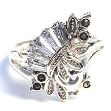 (Size 7,8) CZ BAGUETTE STONES RING Marcasite .925 STERLING SILVER