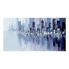 Hand Painted Modern Cityscape Oil Painting Abstract Wall Art on Canvas Framed