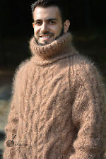 DUKYANA hand knitted mens mohair sweater cabled Tneck Fuzzy jumper Soft Pullover
