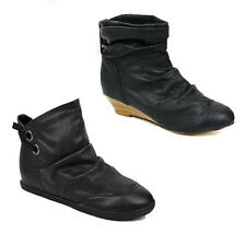 WOMENS LADIES LOW WEDGE FLAT SLOUCH FASHION ANKLE BOOTS BOOTIES SHOES SIZE 3-8