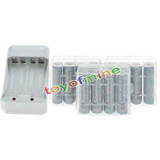 12x AA 3000mAh 1.2V Ni-MH GREY Color Rechargeable Battery Cell +3x Case+Charger