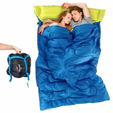 "Huge Double Sleeping Bag 23F/-5C 2 Person Camping Hiking 86""x60"" W/2 Pillows AL4"