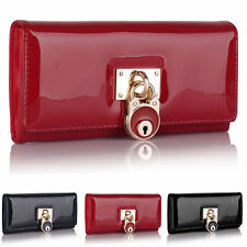 New Lock Patent Leather Trifold Women Purse Designer Ladies Girl Wallet UK