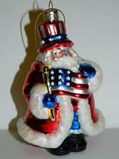 Patriotic Santa Claus Xmas Ornament Red White Blue American Flag USA Decoration