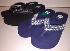 Yellow Box Womens Touch Pearl Jeweled Wedge Flip Flops Sandals NWOB Blue Black
