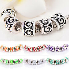 10pcs Silver Plated murano Glass beads European Fit bracelet gift Luxury Punk