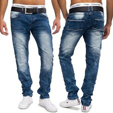 Mens Jeansnet Used Look Jeans Nr.1603 Tapered Slim Fit Denim Trousers Stone Wash