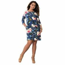Floral Printed Big Size 3/4 Sleeve Knee-length Dress for Women