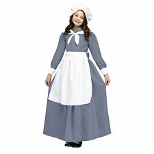 Child Colonial Pilgrim Costume Girls Kids Fancy Dress Party Outfit