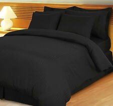 1000TC SOFT EGYPTIAN COTTON ALL HOME BED LINENS UK SIZES BLACK STRIPED