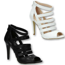 WOMENS LADIES STRAPPY GLADIATOR PEEP TOE HIGH HEELS ANKLE SANDALS SHOES SIZE 2-7
