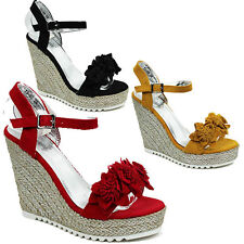WOMENS LADIES PLATFORM WEDGE HEEL ANKLE STRAP FRILL ESPADRILLES SANDALS SIZE 3-8