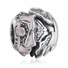 authentic sterling silver rose charms beads with cz & pink enamel charm bead