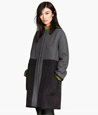 H&M Conscious Collection Wool Blend Quilted Coat Dark Grey UK 10 12 36 38 US 6 8