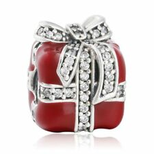 Authentic Sterling Silver bead Clear CZ Pave Bow Red Enamel Gift Box Charm bead