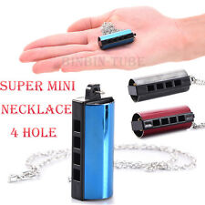 Super Mini 4 Hole 8 Tones Harmonica Portable Metal Necklace Chain Pendant Gift