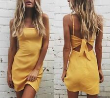 Women Yellow Color Spaghetti Strap Sleeveless Back Tie Up Slim Bodycon Dress