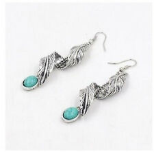 US Tibet Silver Leaf Dangle Earrings Turquoise Ethnic Natural Stone Earrings