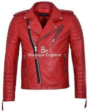 Brando Men's Real Soft Leather Jacket Biker Style Red Quilted Slim Fit 2250