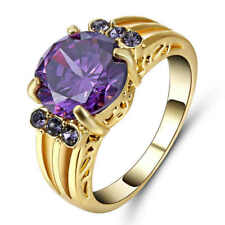 Size 8 Womans Purple Amethyst Yellow 10kt Gold Filled Engagement Wedding Ring