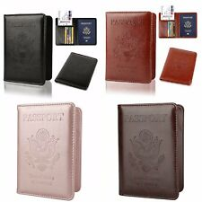 Leather Passport Holder Cover Case RFID Blocking Travel Wallet Credit Card Slots