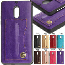 For Nokia 6 Card Slot PU Leather Back Protective TPU Soft Cover Case Stand Skin