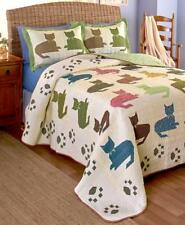 Cat Silhouettes Paw Prints Pillow Shams Quilt Quilted Throw Twin Full Queen King
