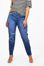 NEW Boohoo Womens Plus Tilly Mid Rise Skinny Ripped Knee Jean in