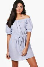 NEW Boohoo Womens Katy Off The Shoulder Tie Front Dress in Polyester