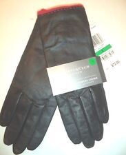 Ladies Red Wool Blend Lined Genuine Leather Driving Gloves,Black