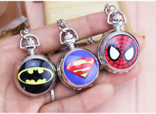 New Boy's Superman-Batman-Spiderman- Pocket Watch with Necklace Chain- Quartz