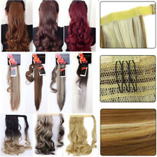 Fashion Woman 100% Natural Clip In Hair Extensions Wrap On Ponytail Hairpiece US