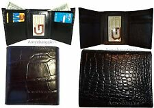 Italian Style Crocodile Printed Leather Man's Trifold wallet 2 billfolds 9 cards