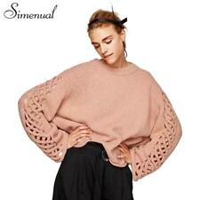 Women Sweaters Pullover Hollow Out Lace Up Winter Knitwear Casual Sleeve Long