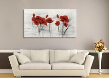 Framed Hand Painted Vintage Red Flower Canvas Oil Painting For Living Room Decor
