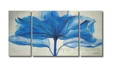 + framed Hand-painted Modern Canvas Wall Art Abstract Blue Flower Oil Painting