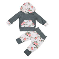 Baby Girl Toddlers Floral Outfit Set Long Sleeves Shirt with Hood and Leggings